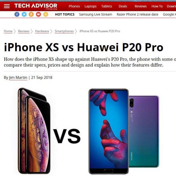 外媒评价iPhoneXS和华为P20 Pro拍照:华为是赢家!